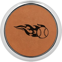 Baseball Leatherette Round Coaster w/ Silver Edge - Single or Set (Personalized)