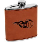Baseball Leatherette Wrapped Stainless Steel Flask (Personalized)