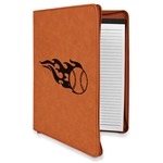 Baseball Leatherette Zipper Portfolio with Notepad (Personalized)