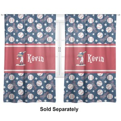 "Baseball Curtains - 20""x54"" Panels - Lined (2 Panels Per Set) (Personalized)"
