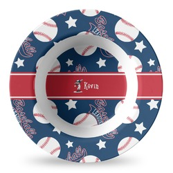 Baseball Plastic Bowl - Microwave Safe - Composite Polymer (Personalized)