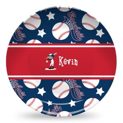Baseball Microwave Safe Plastic Plate - Composite Polymer (Personalized)