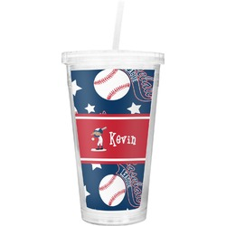 Baseball Double Wall Tumbler with Straw (Personalized)
