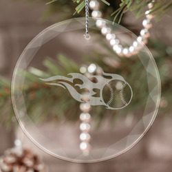 Baseball Engraved Glass Ornament (Personalized)