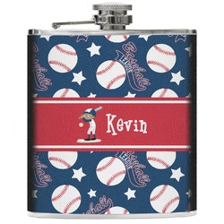 Baseball Genuine Leather Flask (Personalized)