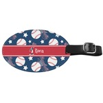 Baseball Genuine Leather Oval Luggage Tag (Personalized)