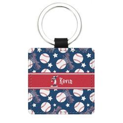 Baseball Genuine Leather Rectangular Keychain (Personalized)