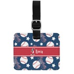 Baseball Genuine Leather Rectangular  Luggage Tag (Personalized)