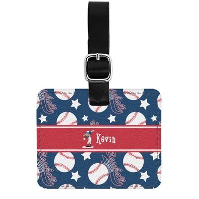 Baseball Genuine Leather Rectangular  Luggage Tag (Personalized)