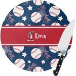 Baseball Round Glass Cutting Board (Personalized)