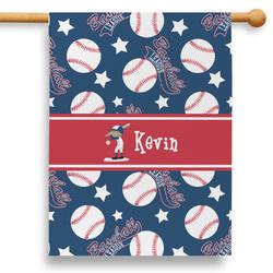 "Baseball 28"" House Flag (Personalized)"
