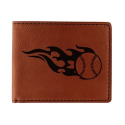 Baseball Leatherette Bifold Wallet - Double Sided (Personalized)