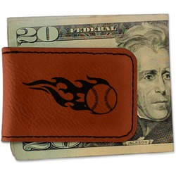 Baseball Leatherette Magnetic Money Clip - Single Sided (Personalized)