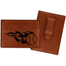 Baseball Leatherette Wallet with Money Clip (Personalized)