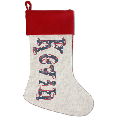 Baseball Red Linen Stocking (Personalized)