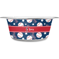 Baseball Stainless Steel Dog Bowl (Personalized)