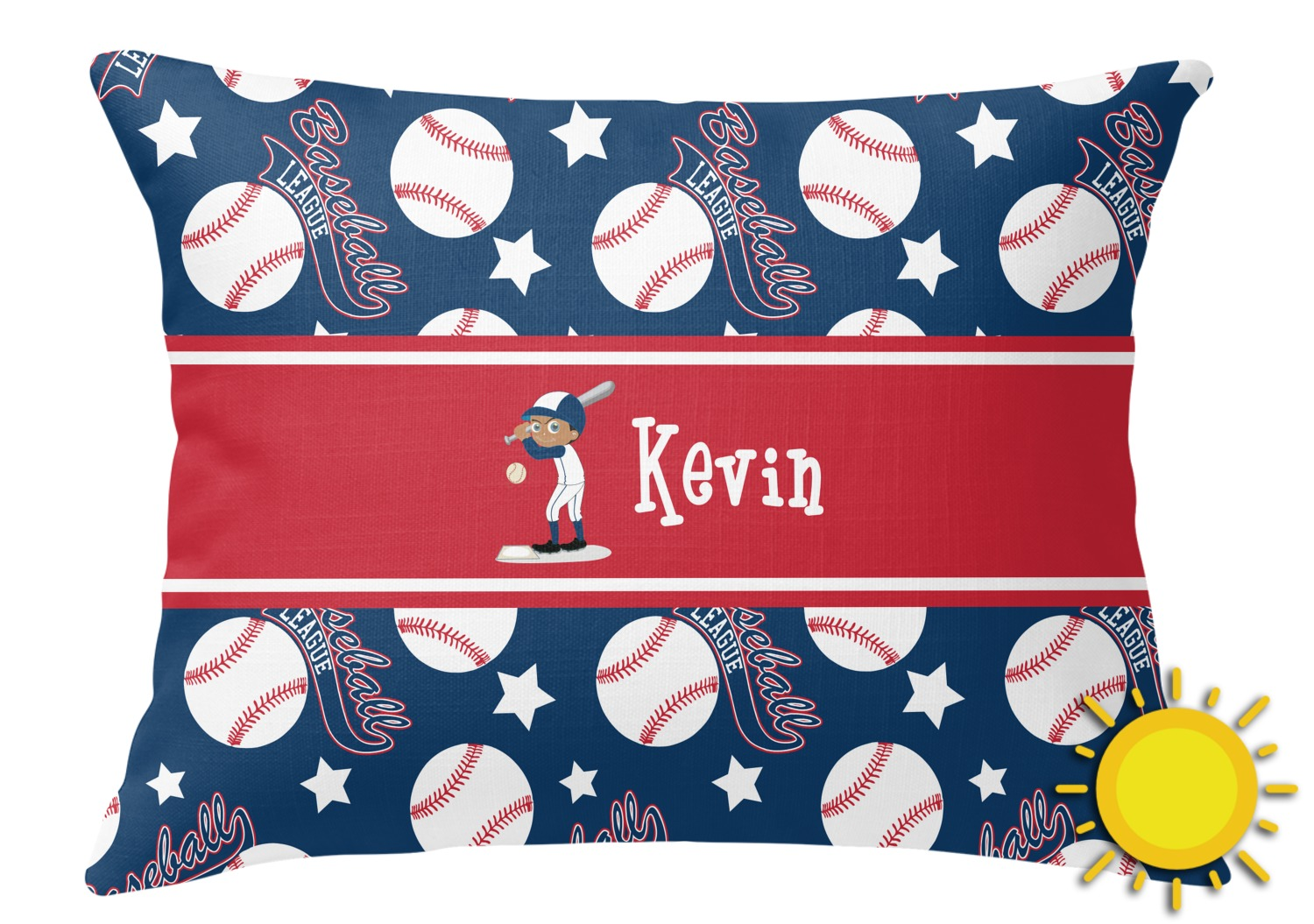 Baseball Outdoor Throw Pillow (Rectangular) (Personalized) - YouCustomizeIt