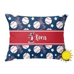 Baseball Outdoor Throw Pillow (Rectangular) (Personalized)