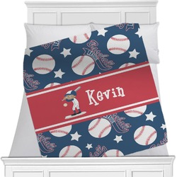"Baseball Fleece Blanket - Twin / Full - 80""x60"" - Double Sided (Personalized)"
