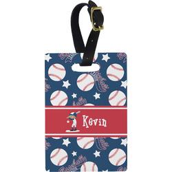 Baseball Plastic Luggage Tag - Rectangular w/ Name or Text