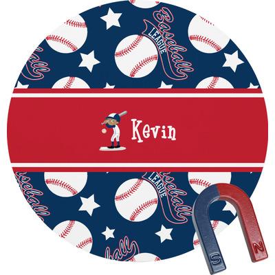 Baseball Round Fridge Magnet (Personalized)