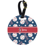 Baseball Plastic Luggage Tag - Round (Personalized)