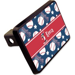 """Baseball Rectangular Trailer Hitch Cover - 2"""" (Personalized)"""
