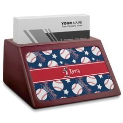 Baseball Red Mahogany Business Card Holder (Personalized)
