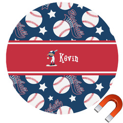 Baseball Round Car Magnet (Personalized)
