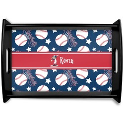 Baseball Black Wooden Tray (Personalized)