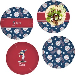 """Baseball Set of 4 Glass Lunch / Dinner Plate 10"""" (Personalized)"""