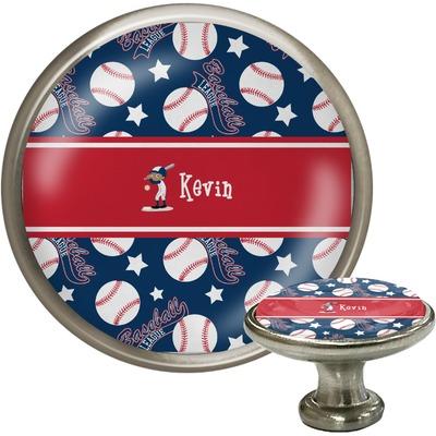 Baseball Cabinet Knob (Silver) (Personalized)