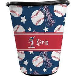 Baseball Waste Basket - Double Sided (Black) (Personalized)