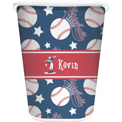 Baseball Waste Basket - Single Sided (White) (Personalized)