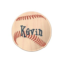 Baseball Genuine Maple or Cherry Wood Sticker (Personalized)