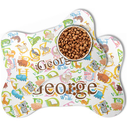Animal Alphabet Bone Shaped Dog Food Mat (Personalized)