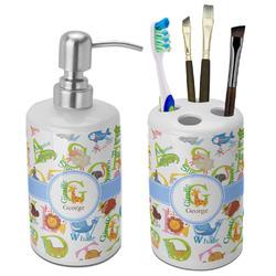 Animal Alphabet Bathroom Accessories Set (Ceramic) (Personalized)