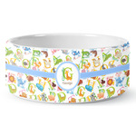 Animal Alphabet Ceramic Dog Bowl (Personalized)