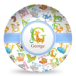 Animal Alphabet Microwave Safe Plastic Plate - Composite Polymer (Personalized)