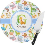 Animal Alphabet Round Glass Cutting Board (Personalized)