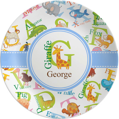 Animal Alphabet Melamine Plate (Personalized)