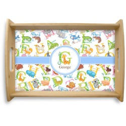 Animal Alphabet Natural Wooden Tray - Small (Personalized)