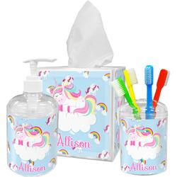 Rainbows and Unicorns Acrylic Bathroom Accessories Set w/ Name or Text