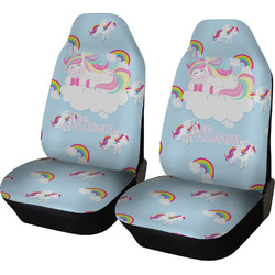 Rainbows and Unicorns Car Seat Covers (Set of Two) w/ Name or Text