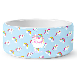Rainbows and Unicorns Ceramic Dog Bowl (Personalized)