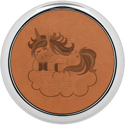 Rainbows and Unicorns Leatherette Round Coaster w/ Silver Edge - Single or Set (Personalized)