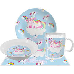 Rainbows and Unicorns Dinner Set - 4 Pc w/ Name or Text