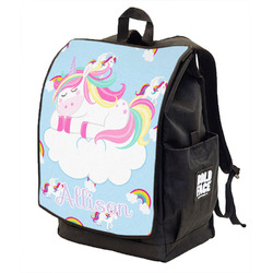 Rainbows and Unicorns Backpack w/ Front Flap w/ Name or Text