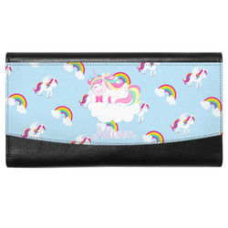 Rainbows and Unicorns Genuine Leather Ladies Wallet w/ Name or Text