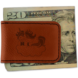 Rainbows and Unicorns Leatherette Magnetic Money Clip (Personalized)